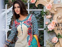 MTF Embroidered Lawn with Chiffon Dupatta 10-B Price in Pakistan