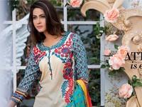 MTF Embroidered Lawn with Chiffon Dupatta 10-B in Pakistan