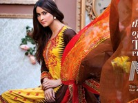 MTF Embroidered Lawn with Chiffon Dupatta 11-A Price in Pakistan