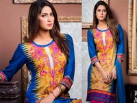 MTF Embroidered Lawn with Chiffon Dupatta 11-B Price in Pakistan
