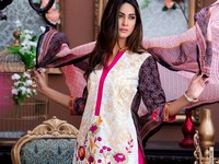 MTF Embroidered Lawn with Chiffon Dupatta 12-A Price in Pakistan