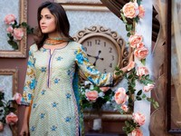 MTF Embroidered Lawn with Chiffon Dupatta 13-B Price in Pakistan
