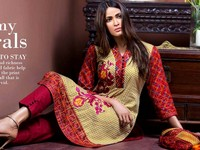 MTF Embroidered Lawn with Chiffon Dupatta 14-A in Pakistan