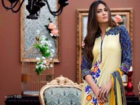 MTF Embroidered Lawn with Chiffon Dupatta 14-B Price in Pakistan