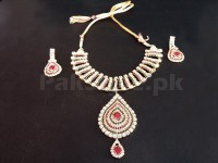Golden Crystal Stones Jewellery Set in Pakistan