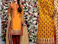 Embroidered Lawn Dress with Chiffon Dupatta in Pakistan