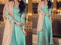 Embroidered Net Maxi Dress in Pakistan