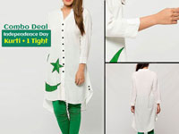 Independence Day Kurti with Green Tight in Pakistan
