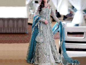 Designer Embroidered Chiffon Bridal Dress in Pakistan