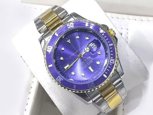 Heavy Steel Chain Submariner Two Tone Watch - Blue