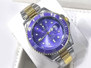Heavy Steel Chain Submariner Two Tone Watch - Blue Price in Pakistan