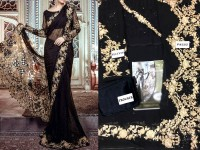 Designer Embroidered Black Chiffon Saree in Pakistan