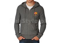 FCB Logo Zipper Hoodie - Charcoal in Pakistan