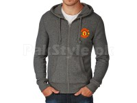 Manchester Logo Zip Hoodie Charcoal in Pakistan