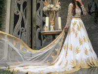 Embroidered White Chiffon Frock in Pakistan