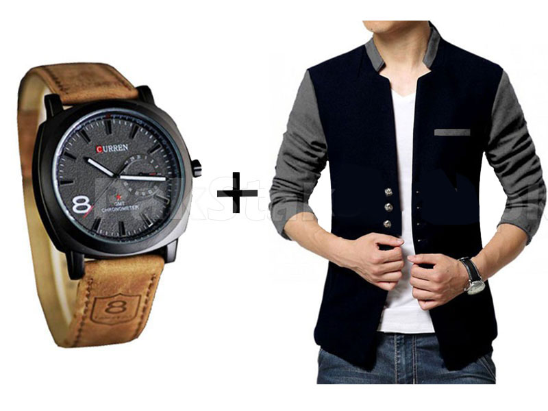 Men's Fleece Coat & Watch Combo Pack in Pakistan