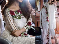 Elegant Embroidered  White Chiffon Party Dress Price in Pakistan