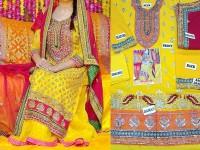 Embroidered Chiffon Mehndi Dress in Pakistan