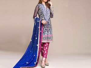 Embroidered Blue Chiffon Bridal Dress in Pakistan