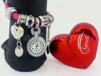 Charm Bracelet Watch & Heart Perfume Bottle Gift Set in Pakistan