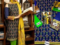 Embroidered Cotton Suit with Chiffon Dupatta in Pakistan