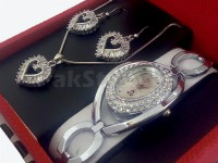 Ladies Watch &  Heart Shape Jewellery  Gift Set in Pakistan