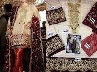 Embroidered Jamawar Dress with Velvet Dupatta in Pakistan