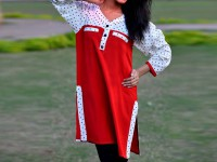 Ladies Boski Linen Top - Red in Pakistan
