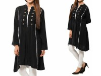 Women's Boski Linen Kurti - Black in Pakistan