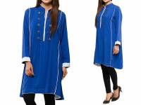 Women's Boski Linen Kurti - Blue in Pakistan