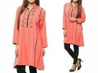 Women's Boski Linen Kurti - Peach in Pakistan