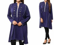 Women's Boski Linen Kurti - Navy Blue in Pakistan