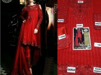 Embroidered Chiffon Red Dress in Pakistan