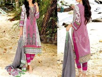 MTF Embroidered Lawn Dress D04-B in Pakistan
