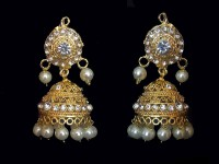 Pearl Golden Earrings in Pakistan