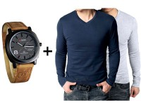 2 Men's T-Shirts & Curren Watch in Pakistan