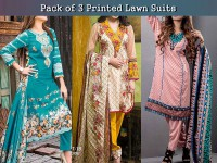Pack of 3 Printed Lawn Suits in Pakistan