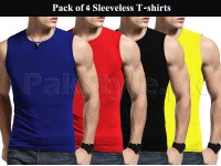 Pack of 4 Sleeveless Round Neck T-shirts in Pakistan