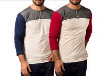 Pack of 2 Contrast Full Sleeves T-shirts in Pakistan
