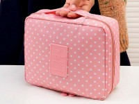 Polka Dot Printed Cosmetics Bag - Pink in Pakistan