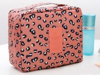 Leopard Print Cosmetics Bag - Peach in Pakistan