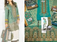 Embroidered Lawn Suit with Silk Dupatta in Pakistan
