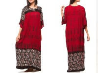 Flower Print Boski Linen Kurti - Red in Pakistan