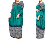 Flower Print Boski Linen Kurti - Sea Green in Pakistan