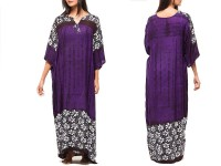 Flower Print Boski Linen Kurti - Purple in Pakistan