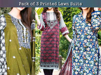 Pack of 3 Star Printed Lawn Suits in Pakistan