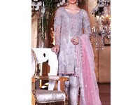 Embroidered Grey Net Dress with Pink Net Dupatta in Pakistan