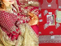 Embroidered Chiffon Bridal Suit with Net Dupatta in Pakistan