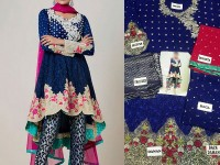 Embroidered Chiffon Suit with Net Dupatta in Pakistan