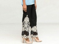 Cotton Embroidered Bootcut Trouser - Black